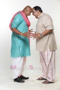 Anand Ingle,Vaibhav Mangle in  Shejari Shejari Pakke Shejari Zee Marathi Serial