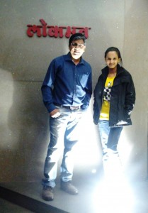 ketaki Mategaonkar with Ajay Thakur(producer) at Lokmat Office.