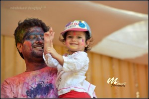 Jitend Joshi With Son while playing holi