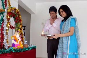Swapnil Joshi And Mukta Barve - Ganpati Pujan on set of Mangalashtak Once More