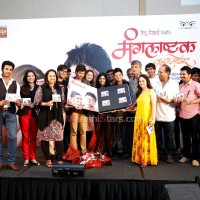 Cast and crew of the Marathi movie Mangalashtak Once More during its music launch, held in Mumbai, on October 8, 2013.