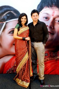 Mukta Barve and Swapnil Joshi pose together at the music launch of Marathi movie Mangalashtak Once More, held in Mumbai, on October 8, 2013.