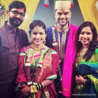 Shreya Bugade - Seth with Husband at Mayuri Wagh & Piyush Ranade Marriage