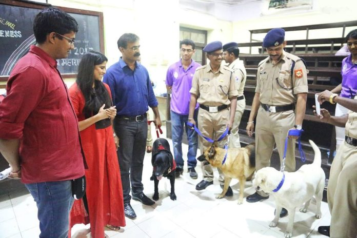 Sai Tamhankar felicitated Service dogs in a college event