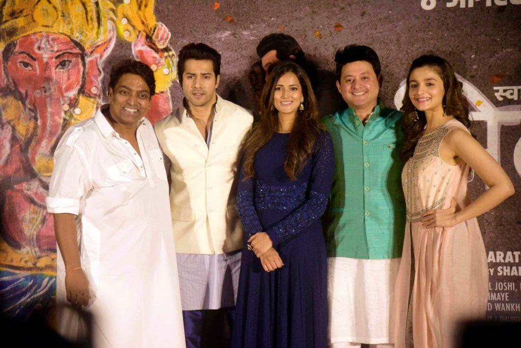 (L-R) Ganesh Acharya, Varun Dhawan, Rucha Inamdar, Swwapnil Joshi and Alia Bhatt- Deva Ho Deva Song launch