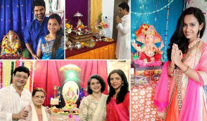 Marathi Actor Actress Hone Ganpati Bappa - Ganesh Festival Photos